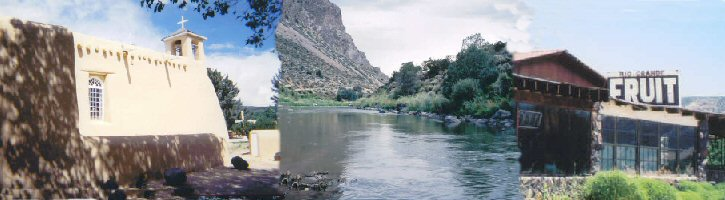 Photos along the Rio Grande River and St. Francis of Asis Mission in Ranchos de Taos